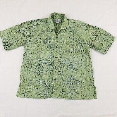 Resort Shirts Men's Sz XL Hand Dyed Button Down Hawaiian Shirt Green Cotton -