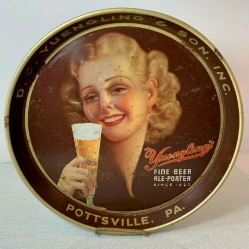 """D G YUENGLING & SON, Yuengling Fine Beer, 11 3/4"""" Diam Beer Tray - FAIR Cond"""