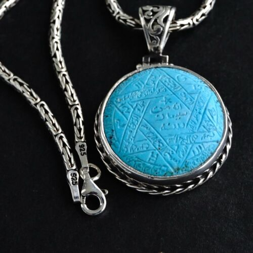 Seal of Solomon Pendant Turquoise Sterling Silver Kings Chain Necklace Unique