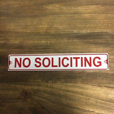 No Soliciting Embossed Aluminum Metal Street Sign Indoor Outdoor Exterior Red