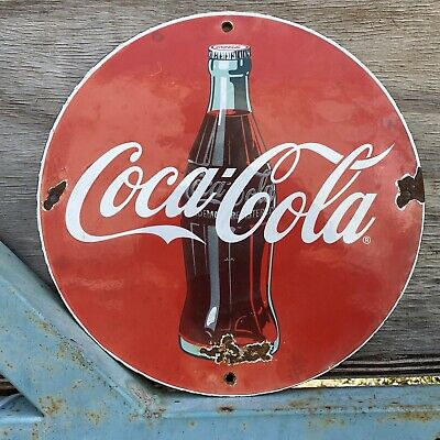 """VINTAGE COCA COLA PORCELAIN 12"""" SIGN Grocery SODA POP Coke OIL GAS Beverage"""