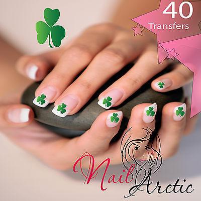 Shamrock Nail Art (40 x Nail Art Water Transfers Stickers Wraps Decals Irish Shamrock Clover)