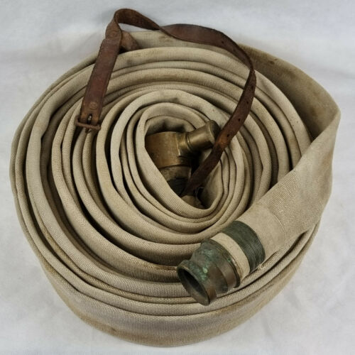 Vintage Canvas Fire Hose With Brass End Fittings & Leather Strap. Fireman.