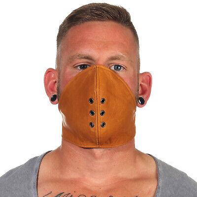 Rind Leder Mund Bedeckung WindSchutz Gesichtsmaske Steampunk Biker Maske Braun A