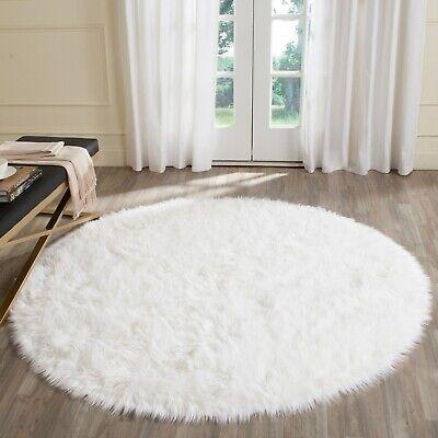 Safavieh Area Rug 5 ft. x 5 ft. Handmade Round Shaggy Faux Sheep Skin White ()