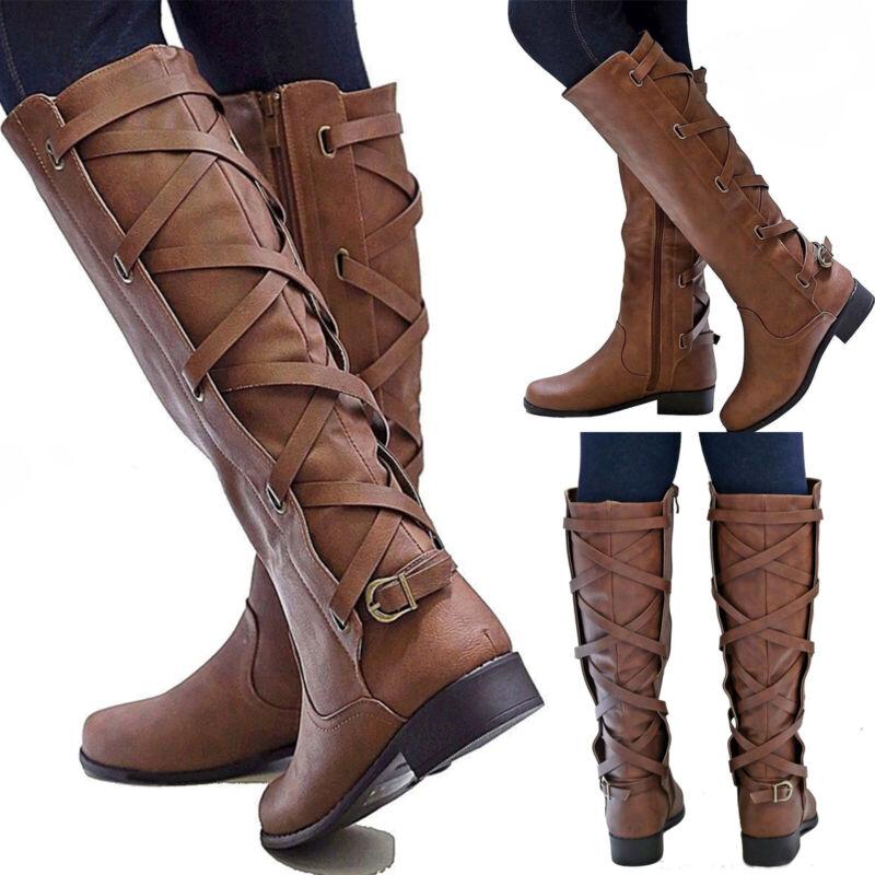 Womens Flat Low Heel Knee High Leg Calf Boots Casual Motorcy