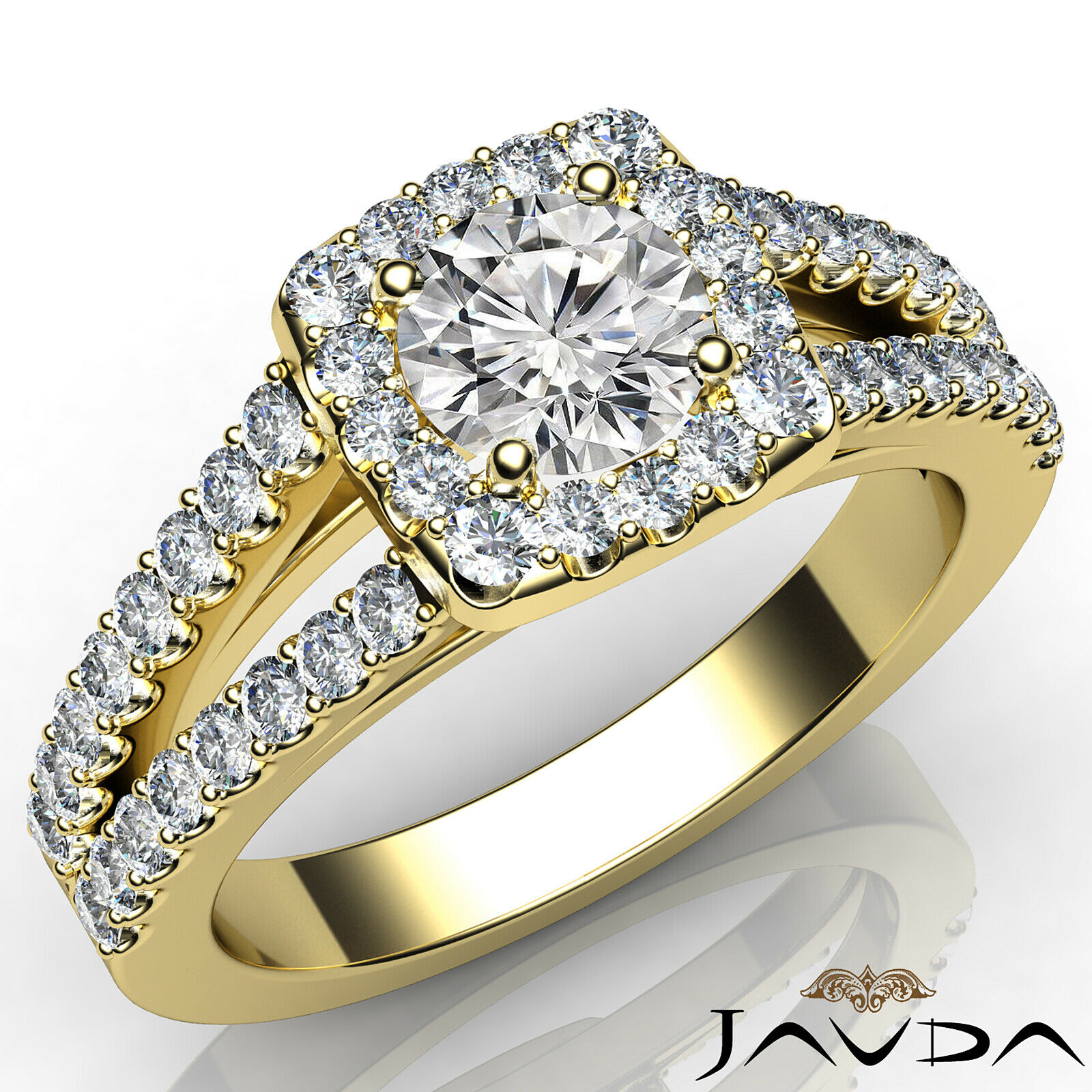 Round Diamond Engagement Halo Split Shank Ring GIA E VVS1 14k White Gold 1 1/4ct 1