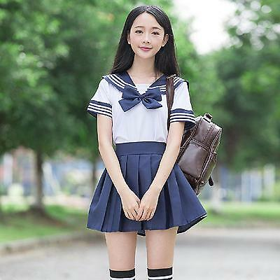 Japanese High School Girl short sleeve Sailor suit Uniform Costume :XS-XL - Costume School Girl