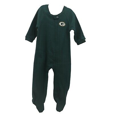 Green Bay Packers Official NFL Apparel Baby Infant Size Pajama Sleeper Bodysuit - Green Bay Packers Infant
