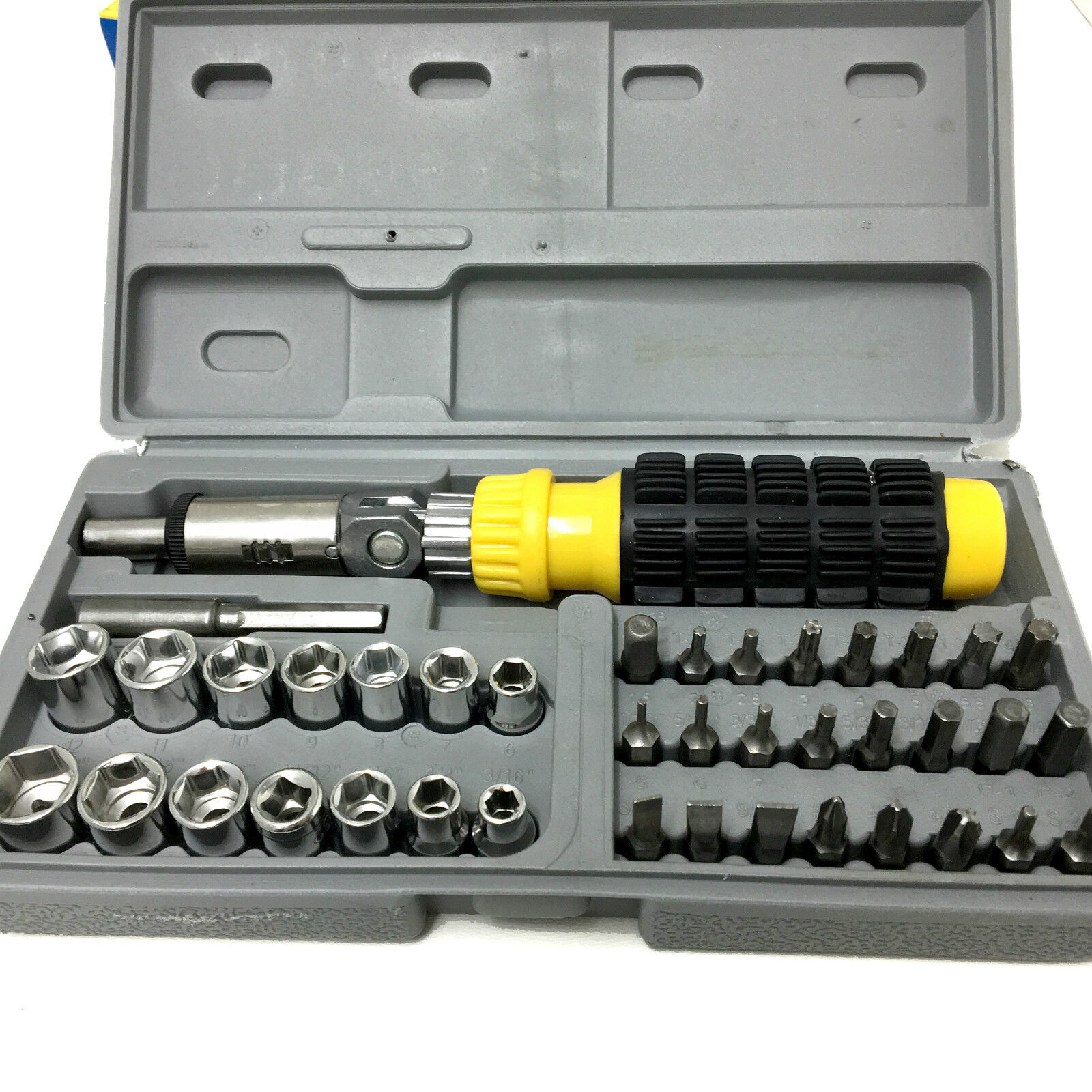41 Pc Socket And Bit Set 3 Way Ratchet Screwdriver Adapter