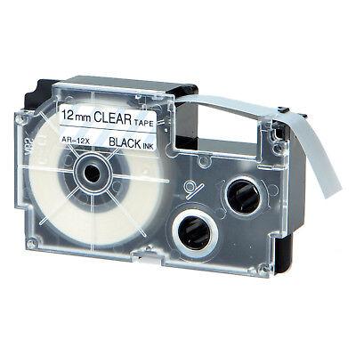 XR-12X Black on Clear 12mm Label Tape Compatible for Casio KL-60SR KL100 XR-12X1
