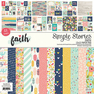 Simple Stories FAITH 12x12 Paper Pad scrapbooking (48) sheets (24) designs 12x12 Paper Pad 24 Sheets