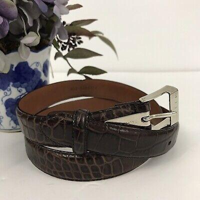 Ralph Lauren Women's Belt Size M Brown Alligator Embossed / Tooled Silver Buckle