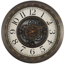Gears 16 Large Brushed Oil Rubbed Bronze Wall Round Wall Clock, Quartz - NEW