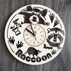 RACOON Wall Clock Wall Art Silent Clock Wooden Unique Modern CLOCK CL-0239