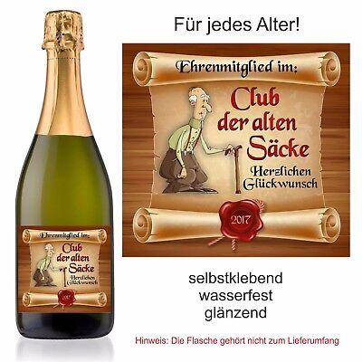 Aufkleber Sektflasche Weinflasche Geburtstag Fest Club der alten Säcke  ()