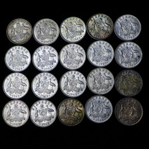 Lot of (20) 1942-1943 Australia Sterling Silver Sixpence Kangaroo And Emu - AU