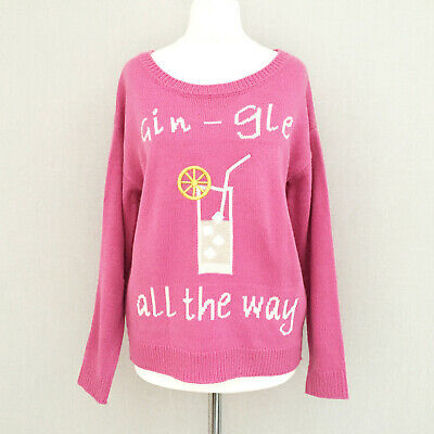 Novelty Christmas Pink Jumper 8 10 Gin Drinking Fun Sweater Knit Long Sleeve Top