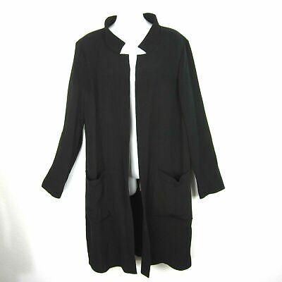 Eileen Fisher L Black Rayon Silk Open Front Jacket Blazer Duster Knee Length EUC