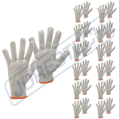 12 Pair Natural White String Knit Poly Cotton Work Gloves New Jorestech