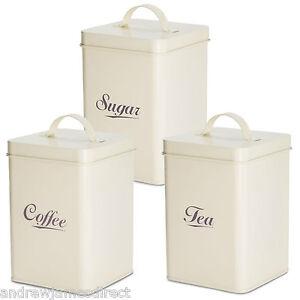 andrew james 3pc tea coffee sugar canister set vintage. Black Bedroom Furniture Sets. Home Design Ideas