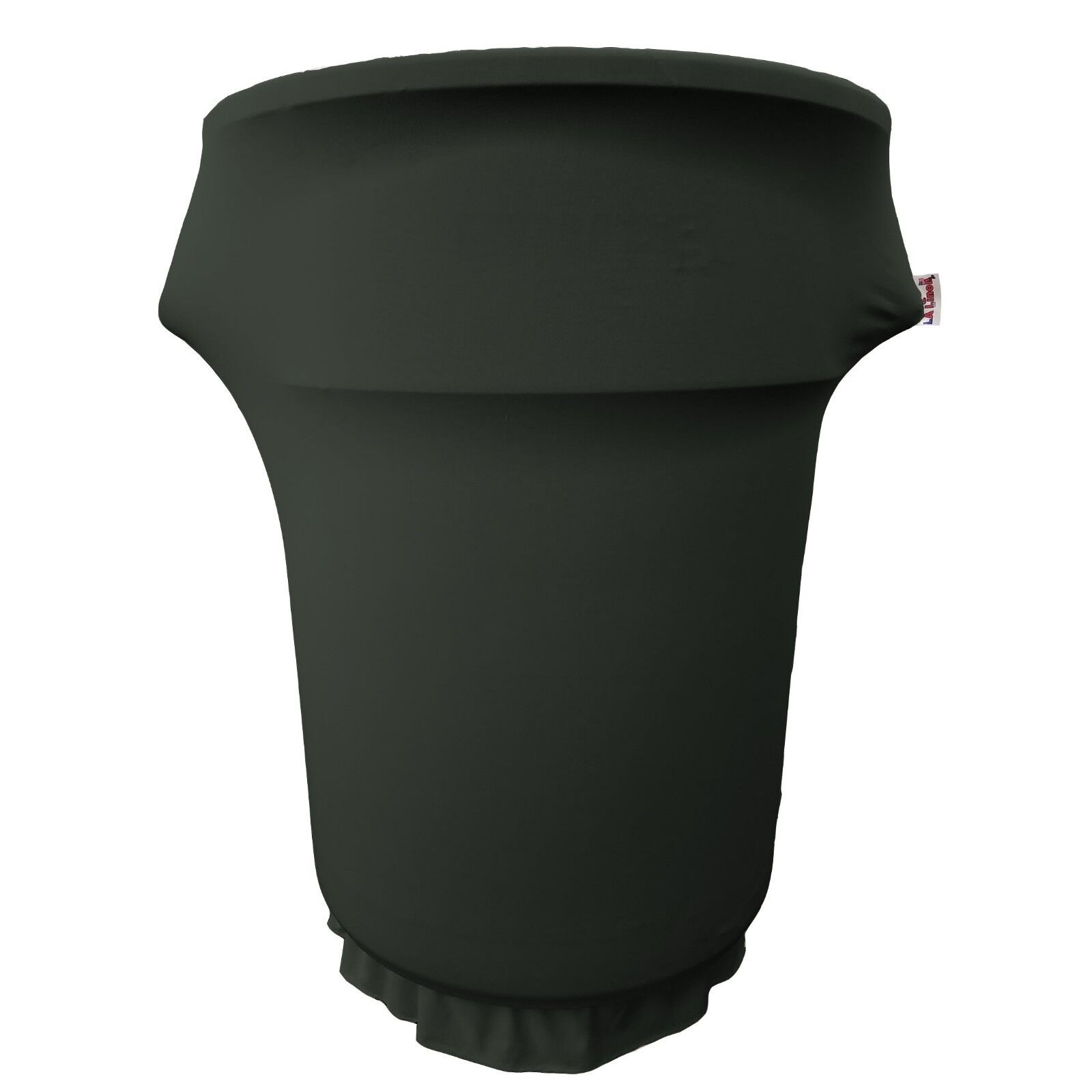 LA Linen Spandex Cover fitted for 55 Gallon Trash can on whe
