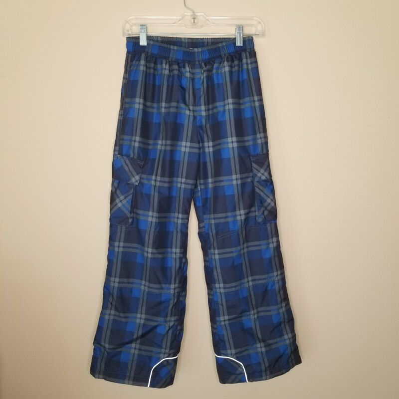 Hanna Andersson 150 12 Ski Insulated Snow Pants Boy Girl Blue Gray Plaid