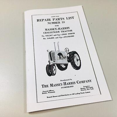 Massey Harris Challenger Tractor Parts List Catalog Manual 35