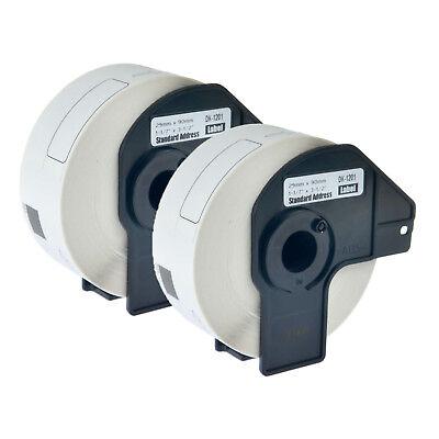 2 Rolls 29mm Dk-1201 Standard Address Paper Label For Brother Dk1201 Ql-1050 700