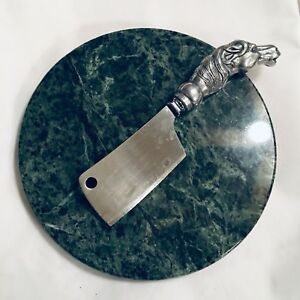 Vintage marble cheese platter and knife