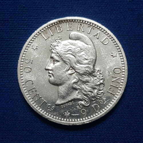 1882 Argentina Silver 50 Centavos. BU, Semi Proof-like Obverse. Scarce coin -218