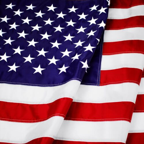 4x6 Ft US Flag 420D Polyester Embroidered Stars Brass Grommets Flag Made IN USA