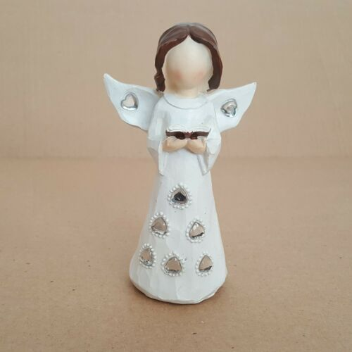 """Vintage Christmas Mini Jeweled Angel 5"""" Inches Holiday Figurines Décor Plaster"""