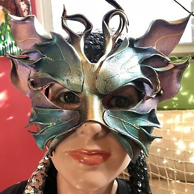 Unique Masquerade Masks (Handmade Leather Fairy Fest Masquerade Party Butterfly Eye Mask Cosplay)