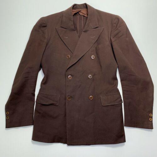 Vtg 1937 Mens Brown Wool Double Breasted Sport Coat Suit Jacket 36R