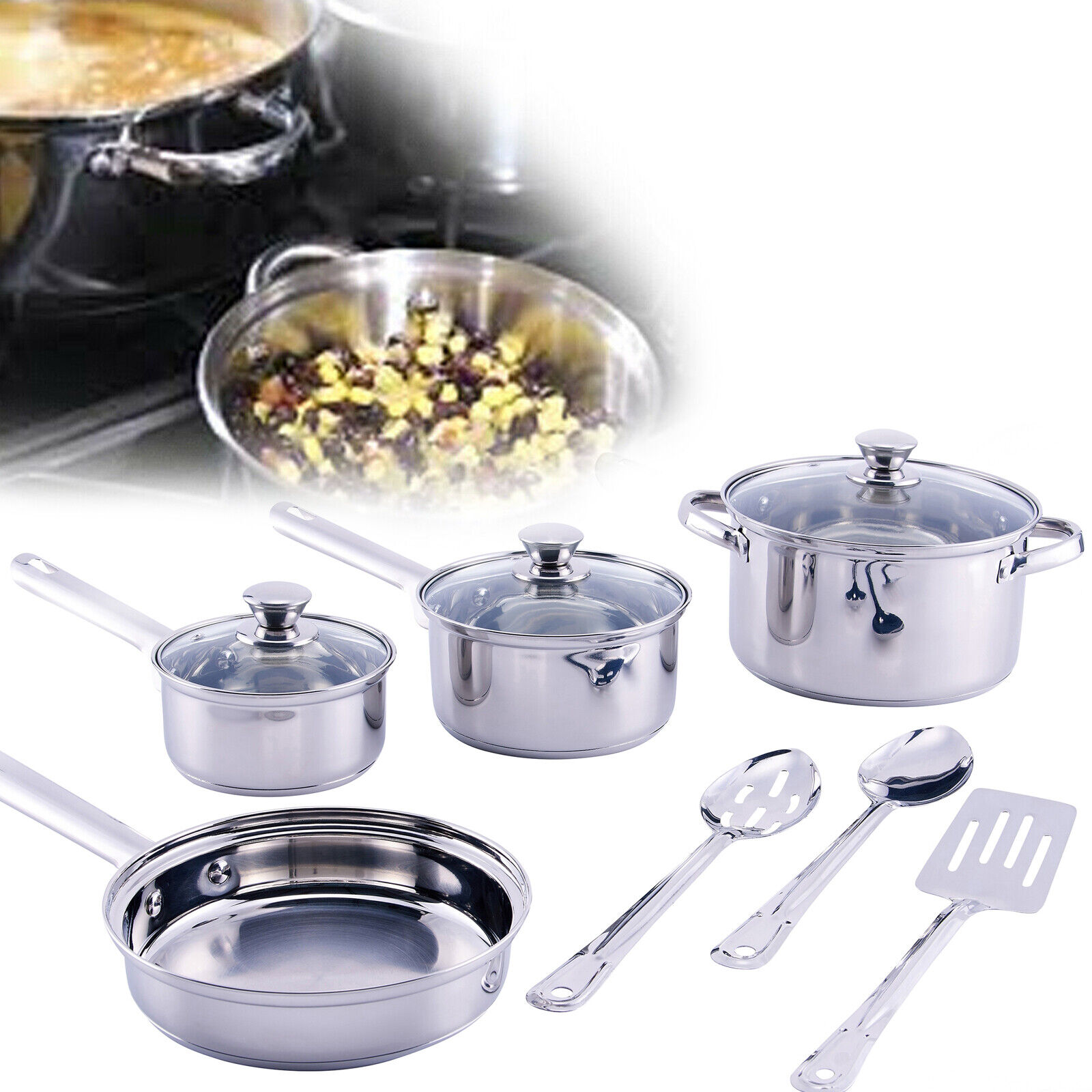 KITCHEN COOKWARE SET 12-Piece Stainless Steel Pot Pan And Ut