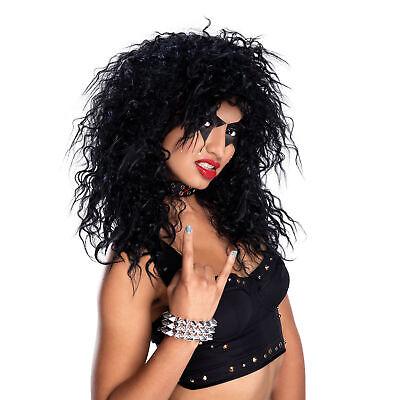Schwarz Rock Star Perücke Alice Cooper Herren Damen Kostüm Verkleidung - Alice Cooper Kostüm