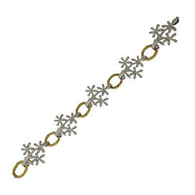 Cathy Waterman Daisy Diamond Platinum Gold Bracelet