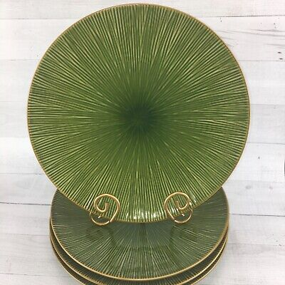 Home TM China Green Tan Textured Lines Heavy Stoneware Large Dinner Plates Set 4 - Large Dinner Plates