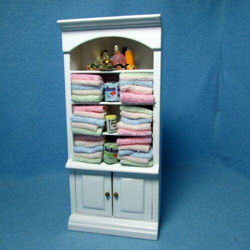 Dollhouse Miniature Wood Bathroom Linen Cupboard with Accessories WF144