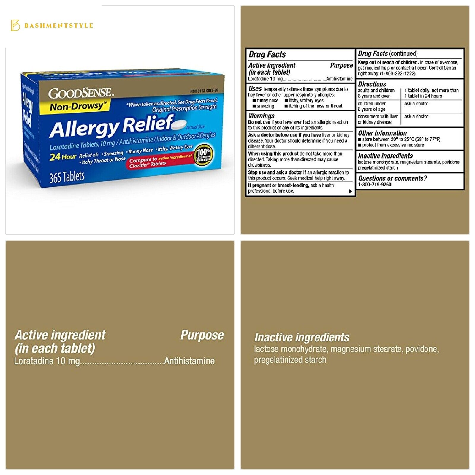 GoodSense Allergy Relief Loratadine Tablets, 10 mg, 365 Coun