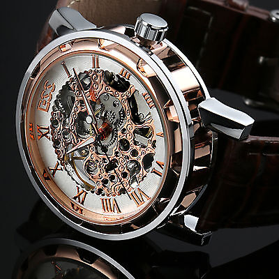 Gold Skeleton Leather Band Men's Mechanical Analog Sport Stainless Wrist Watch