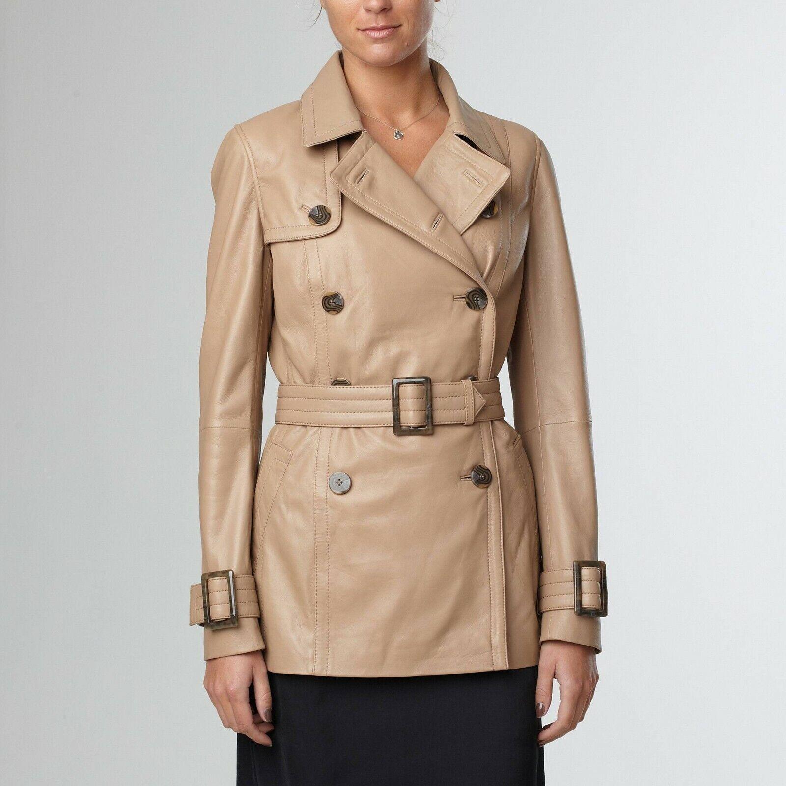 Promotion !!! manteau trench cuir souple agneau femme beige taille 38