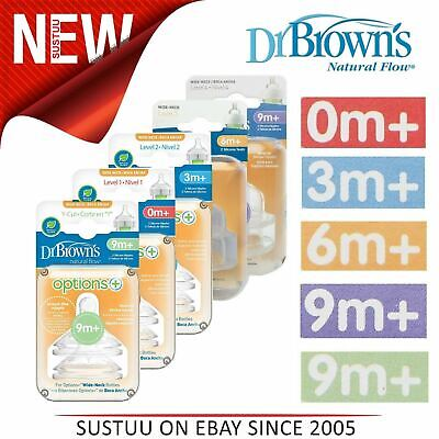 Dr Brown's Baby Options Feeding Nipples Bottle Silicone Teat Level 1,2,3,4,Y