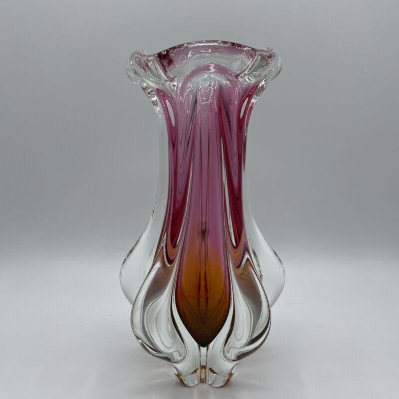 Beautiful Art glass vase Czech Bohemian? vintage 60s/70s,Pink & Orange