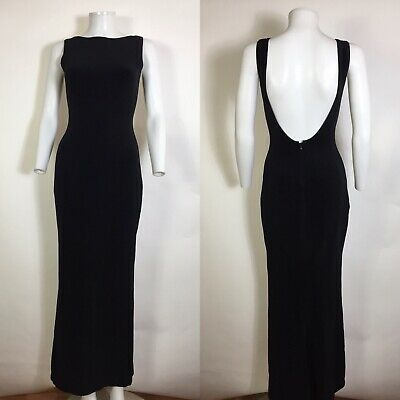 Rare Vtg Gianni Versace Black Backless Maxi Dress 1995 40 S