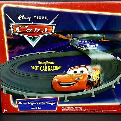 NEW Disney Pixar Cars Slot Car Race Track Set Neon Nights Challenger 2006 Sealed for sale  Shipping to India