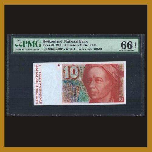 Switzerland 10 Franken (Francs), 1991 P-53j PMG 66 EPQ
