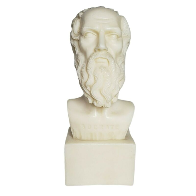 VTG Socrates Alabaster Bust Sculpture Statue for Office Library Greece Souvenir