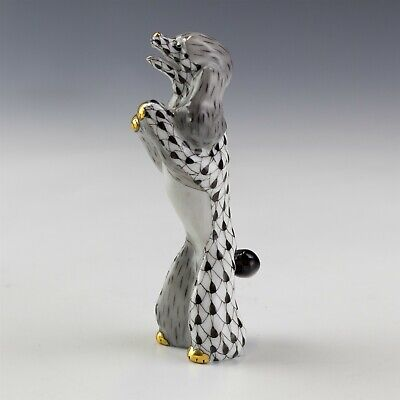 Herend Hungary Black Fishnet Begging Poodle Dog First Edition Porcelain Figurine